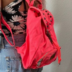 Mini Neon Pink studded back pack